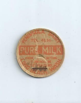 """Peninsula Dairy""   Long Beach, Wash.  milk bottle cap."