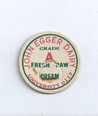 """John Egger Dairy""   Seattle, Wash.  milk bottle cap."