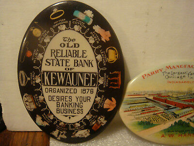 Antique 1907 Celluloid Kewaunee State Bank Advertising Anniversary Graphics Tin