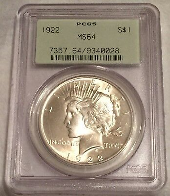 1922 Peace Silver Dollar MS64 PCGS OGH : Nice Mint Luster And A Solid Strike