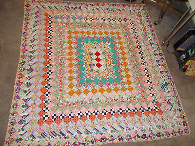 "Antique? Vintage All Hand Sewn Beautiful Grandma's Patchwork Quilt 67.5"" x 73.5"""