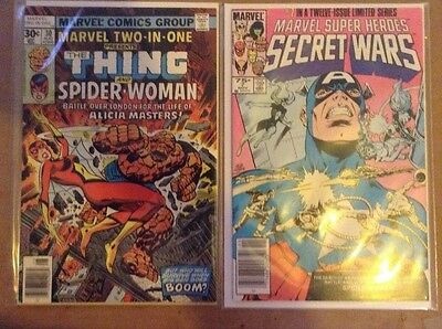 Secret Wars#7 and Marvel Two in One #30 -Spider Woman comic lot