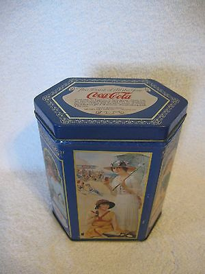 1994 Blue Coca Cola Tin Can Ladies on a Beach Drinking a Bottle or Glass of Coke