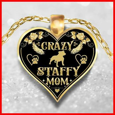 Staffy Mom Necklace, Staffie Jewelry, Staffordshire Bull Terrier Pendant,