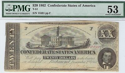 T-51 PF-11 $20 Confederate Paper Money 1862 - PMG About Uncirculated 53!