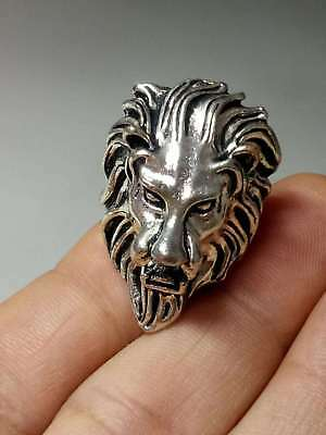 Chinese Collectable Tibet Silver Hand Carved lion Ring   A599