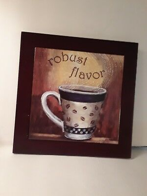 Tile Wood Hot Pad Trivet Robust Flavor Coffee Lover Wall Hanging Art Cup Mug 8x8