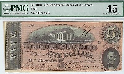 T-69 PF-9 $5 1864 Confederate Paper Money - PMG Choice Extremely Fine 45!