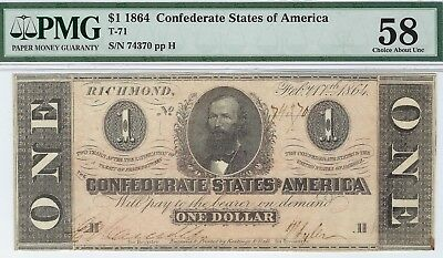 T-71 PF-12 $1 Confederate Paper Money 1864 - PMG Choice About Uncirculated 58!