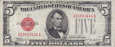F-1529 1928D $5 Red Seal With Vf+ Details