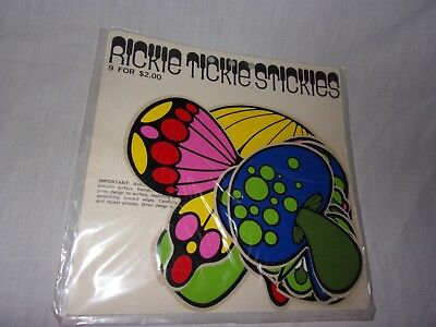 9 RICKIE TICKIE STICKIES 1970 STICKERS - Rare Butterflys Psychedelic Mushrooms