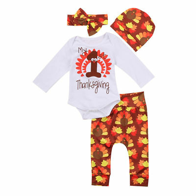 4PCS Newborn Baby Girl Outfits Clothes Set Romper+Long Pants+Hat+Heaband Costume