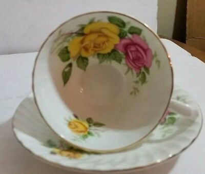 Stanley Fine Bone China Pink and Yellow Floral Tea Cup and Saucer England