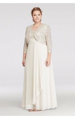 Champagne Chiffon Dress with Sequin Lace Jacket & Bodice WP 22