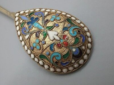 Antique Russian Gilded Silver Cloisonne Enamel Spoon