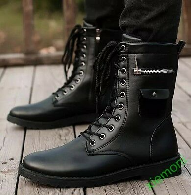 10ef2bfdaaf FASHION MEN BOOTS winter military black boots men shoes leather Mid ...