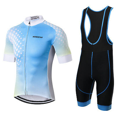 Light Blue Men's Nuevos Hombres Ciclismoe Clothes Set Short Sleeve Bicycle Pant