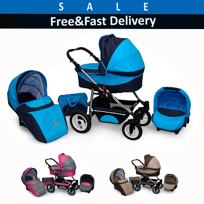 Pram 3IN1 Baby Travel System Pushchair Carrycot Car Seat Combi Buggy From Birth