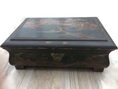 "Untestored Antique Large Chinese Lacquer Wooden Chest Butterfly Lock 18""x13"""