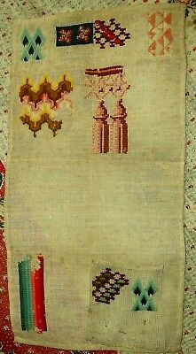 Antique mid 19th C Spot Sampler of Stitches - Study, Reference