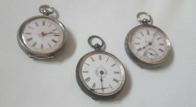 X3 antique Swiss 935 solid silver pocket watches with enamel dials spares/repair