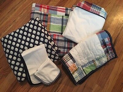 Pottery Barn Kids Madras Nursery Toddle Plaid Quilt, Changing Pad Cover Big Set