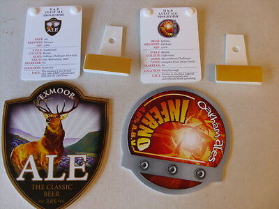 BEER PUMP CLIPS  - NEW / UNUSED x 2 - WITH INFO BACK CLIPS