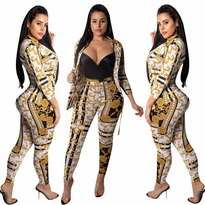 Women Long Sleeves Casual Club Party Bodycon Print Pants Set Suit Jumpsuit 2pcs