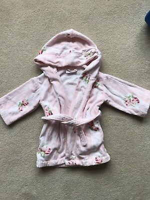 The Little White Company Girls floral towelling Dressing Gown 12-18 months