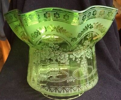 Antique Vintage Stunning Green Glass Etched Oil Lamp Shade
