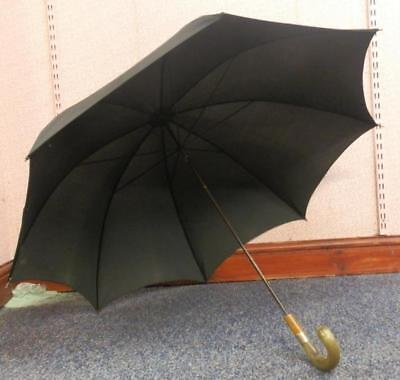 Antique Mans Umbrella With Hallmarked 9 Carat Gold Collar And Bovine Horn Handle