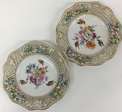 Antique Meissen Porcelain Reticulated Floral Birds Plates Pair Peirced c1938