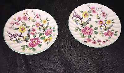 """Set 2 James Kent Old Foley Chinese Rose Small 5 5/8"""" Saucer's"""