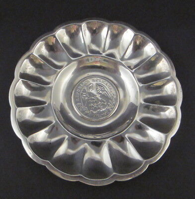 1899 Mexican Silver One Peso Coin Mounted in 925 Silver Dish