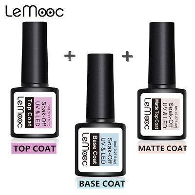 LEMOOC Top & Base Coat Gel Polish Long-lasting Soak Off UV LED Cured Nail Tool
