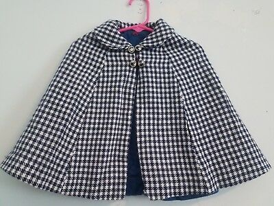 Little Girls 2T Vintage Blue & White Plaid Cape Over Coat Smock 70's Style!