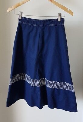Vintage 70s Navy Blue A-Line Skirt, Extra Small, Retro, 1970s