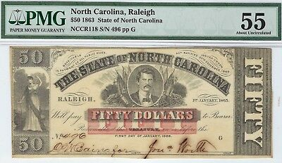 NC-36 CR-118 $50.00 North Carolina Paper Money 1863 - PMG About Uncirculated 55!