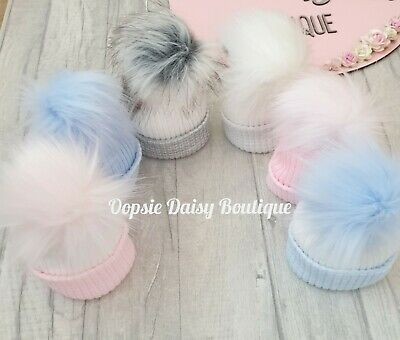 Baby Girls & Boys Lovely Knitted Pom Pom Hats Newborn First Size ☆