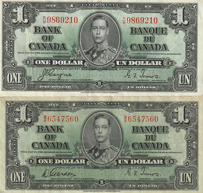 2 x 1937 Bank of Canada $1 Bank Notes - Different Signatures