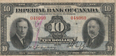 1939 Imperial Bank of Canada $10 Bank Note - Jaffray / Phipps
