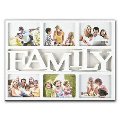 White Family 6 Multi Photo Frame Wall Mounted Love Friends Picture Photoframe