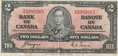 1937 Bank of Canada $1 Bank Note - Coyne / Towers - Z/B5989365 Serial