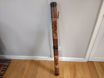 "Vintage Hand Crafted Wood Didgeridoo Dot Art Painted 45"" 116cm"