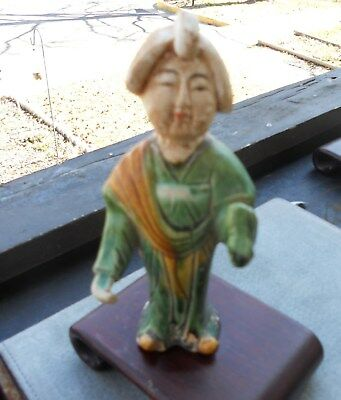 Ancient Chinese Ceramic Tang Dynasty Musician Playing P'i P'a 5.5 in TriColor
