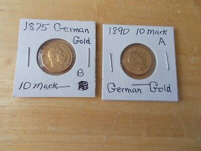 2 German 10 Mark Gold Coins. 1875 & 1890 in Circulated but Nice Condition. .