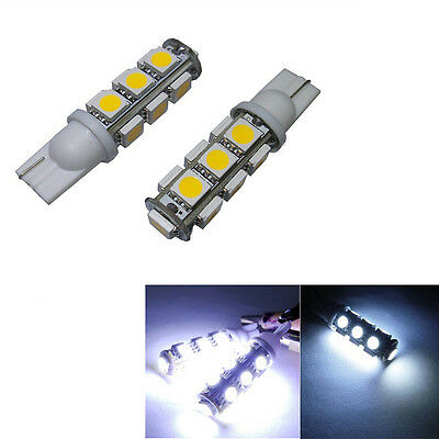 4X Bright White 168 194 2825 W5W 13-SMD 5050 LED Wedge Parking Lamp Light Bulbs