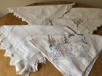 Job Lot 5 Vintage Small Tablecloths Hand Embroidered & Lace Edged