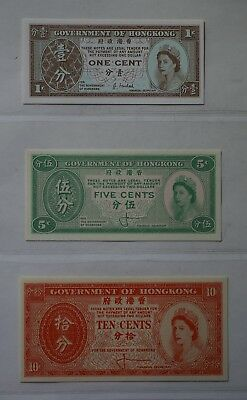 Government of Hong Kong post 1961 1 cent, 5 cent, 10 cent notes complete set