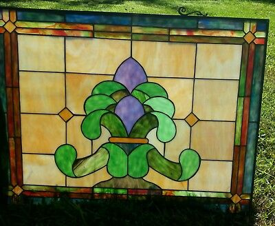 Stained glass window panel 30 x 23